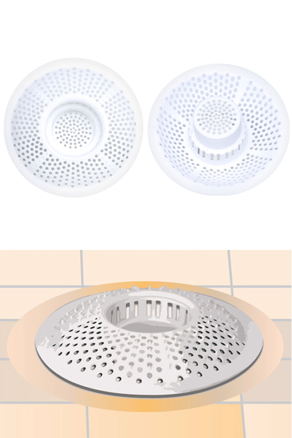Hair Stopper Drain Protector. Product detail. Top and bottom view. Drain trap sits down inside for effective function.