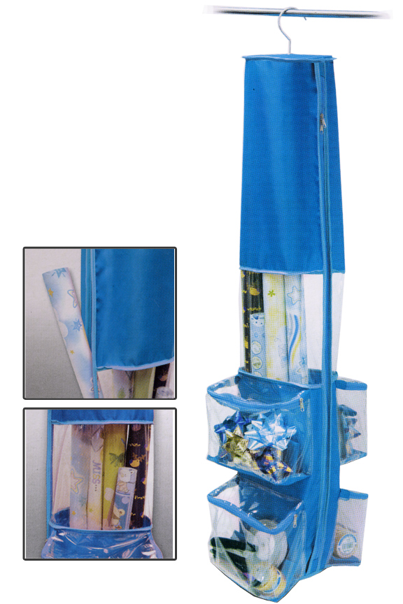 Hanging Wrapping Paper Holder. Available In Blue Or Pink.