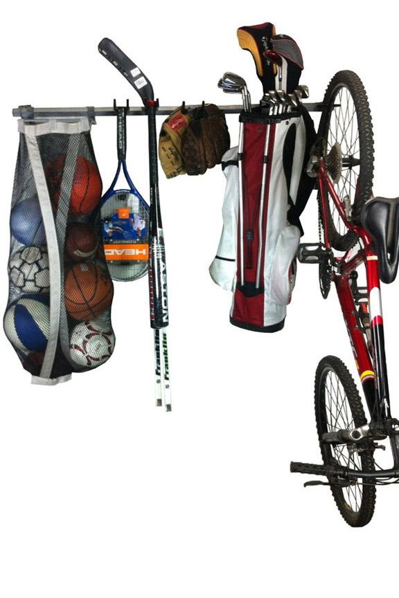 Sports Equipment Storage Rack   Hang Everyones Gear In One Compact Location.