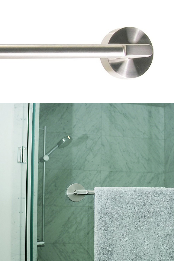 towel bar with towel towel bar attaches flush to the wall griipa stainless steel friction mount bar 18 inches
