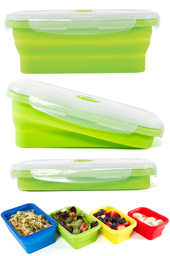 Large storage containers take up little room when not in use.  sc 1 st  SimplyGoodStuff.com & Thin Bins Collapsible Silicone Storage Set (4 Containers with ...